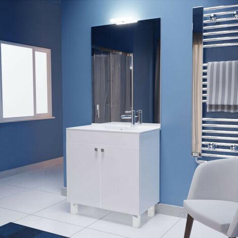 Meuble ECOLINE 80 cm avec plan vasque et miroir - Blanc brillant