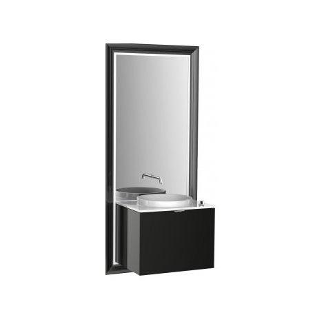 Meuble Emco touch 600 classic, avec coffret électrique, miroir, lave-mains, vasque, robinetterie, meuble-lavabo, Exécution: Cadre : noir, socle : noir - 954029400
