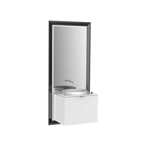 Meuble Emco touch 600 classic, avec coffret électrique, miroir, lave-mains, vasque, robinetterie, meuble-lavabo, Exécution: Cadre : noir, socle : optiwhite - 954029300