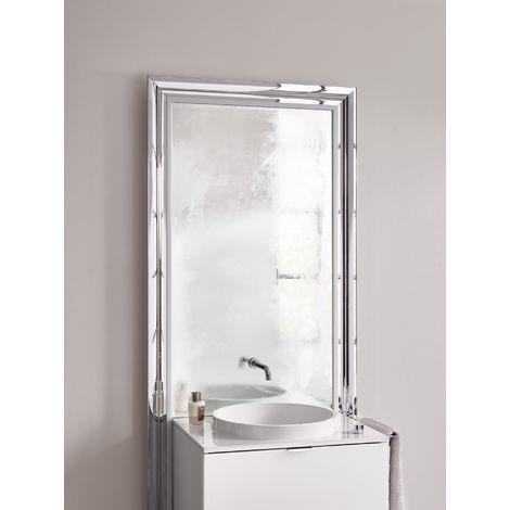 Meuble Emco touch 600 classic, avec coffret électrique, miroir, lave-mains, vasque, robinetterie, meuble-lavabo, Exécution: Piétement : chromé, élément bas : optiwhite - 954027800