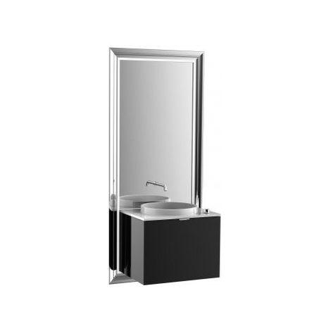 Meuble Emco touch 600 classic, avec coffret électrique, miroir, lave-mains, vasque, robinetterie, meuble-lavabo, Exécution: Piétement : chromé, Meuble bas : noir - 954027900