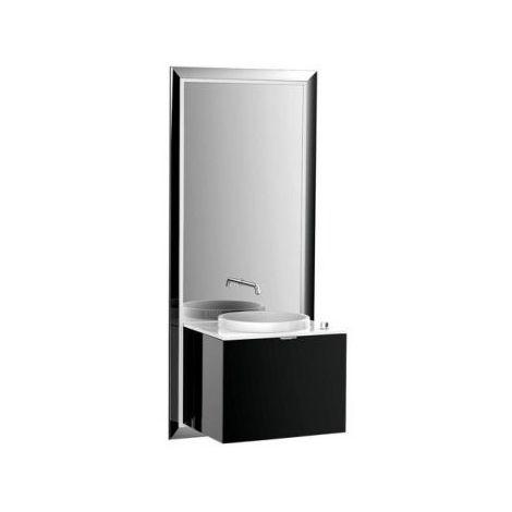 Meuble Emco touch 600 pur, sans coffret électrique, miroir, lave-mains, lavabo, robinet, meuble-lavabo, Exécution: Cadre : noir, socle : noir - 954329400