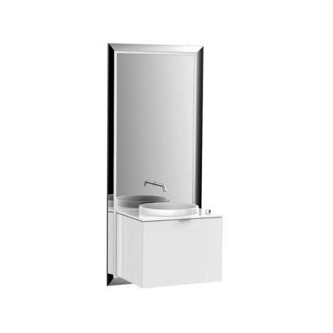Meuble Emco touch 600 pur, sans coffret électrique, miroir, lave-mains, lavabo, robinet, meuble-lavabo, Exécution: Cadre : noir, socle : optiwhite - 954329300