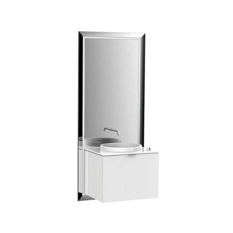 Meuble Emco touch 600 pur, sans coffret électrique, miroir, lave-mains, lavabo, robinet, meuble-lavabo, Exécution: Piétement : chromé, élément bas : optiwhite - 954327800