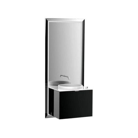 Meuble Emco touch 600 pur, sans coffret électrique, miroir, lave-mains, lavabo, robinet, meuble-lavabo, Exécution: Piétement : chromé, Meuble bas : noir - 954327900