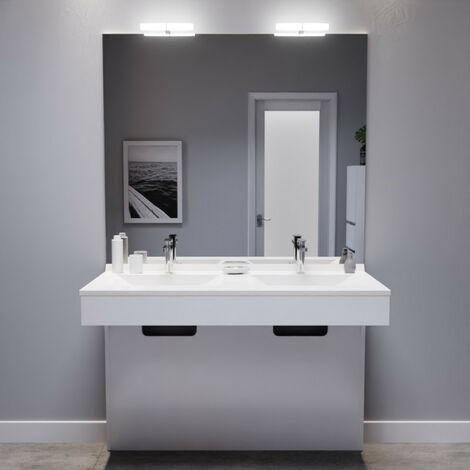 Meuble EPURE 120 cm avec plan vasque et miroir - blanc brillant