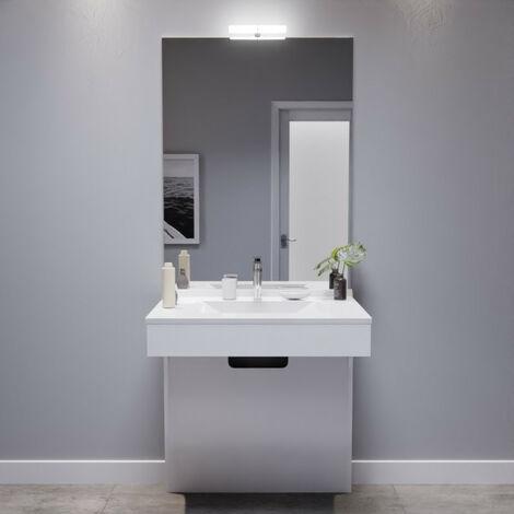 Meuble EPURE 80 cm avec plan vasque et miroir - blanc brillant