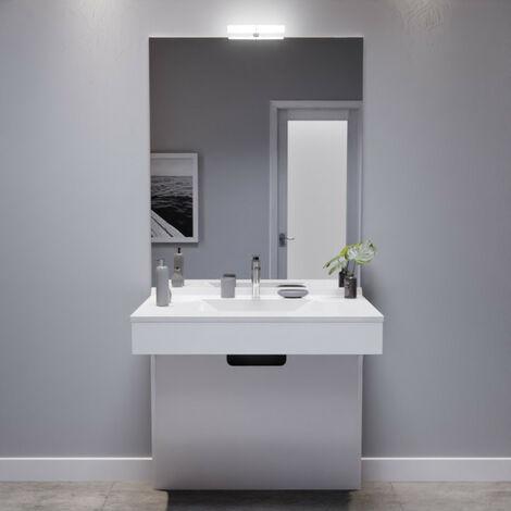 Meuble EPURE 90 cm avec plan vasque et miroir - blanc brillant
