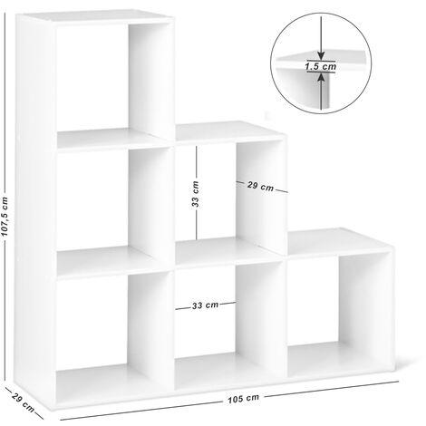 Meuble escalier Bibliothèque Étagère Meuble de Rangement Contemporain Blanc