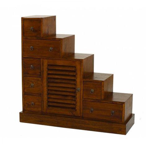 Meuble escalier grand modèle LAUREN en mindi style colonial