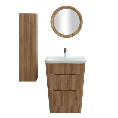 Meuble et colonne de salle de bains bois avec vasque, miroir ...