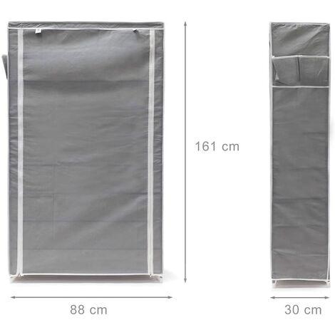 Meuble étagère armoire à chaussures tissu fermeture éclair 161 cm gris - Gris