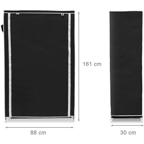 Meuble étagère armoire à chaussures tissu fermeture éclair 161 cm noir - Noir