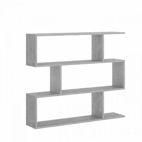 Meuble étagere basse - Décor béton - L 110 x P 25 x H 96 cm - LIS