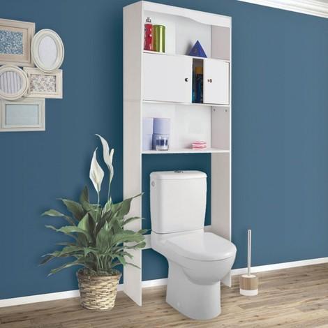 Meuble tag re dessus wc bois coloris blanc 12665 - Meuble etagere wc ...