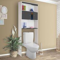 Meuble étagère dessus wc bois coloris gris