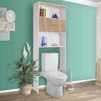 Meuble étagère dessus wc bois coloris hêtre