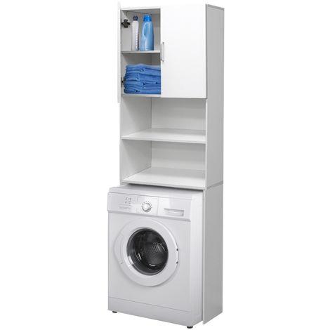 Meuble étagère machine à laver armoire blanc pour salle de bain WC 190 x 62,5 cm