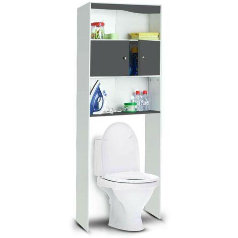 Meuble étagère WC 2 portes en bois Blanc