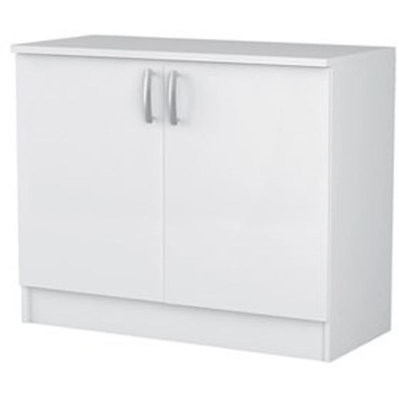 Meuble haut 2 portes coloris blanc, L100 x H84 x P60 cm