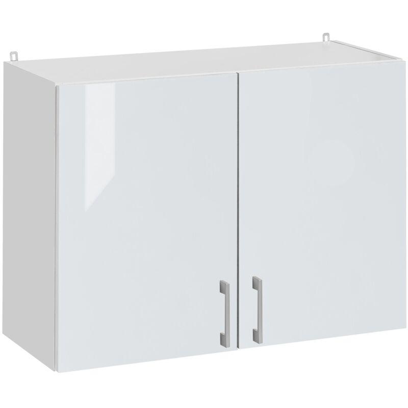 Cuisineandcie - Meuble haut de cuisine - 2 portes, L 60 cm - blanc brillant - Blanc brillant.