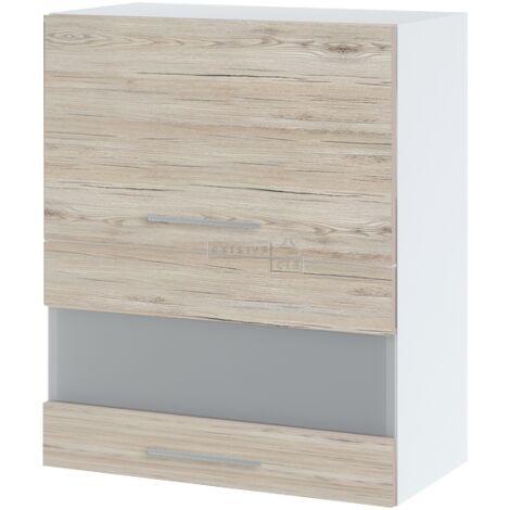 Meuble haut de cuisine - 2 portes relevables avec vitre opaque, L 60 cm - Noyer blanchi.