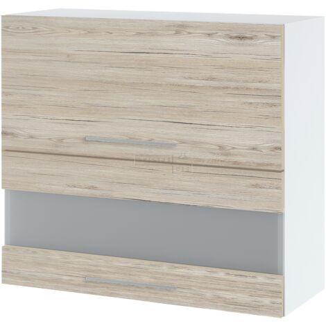 Meuble haut de cuisine - 2 portes relevables avec vitre opaque, L 90 cm - Noyer blanchi.