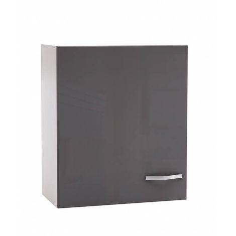 Meuble haut de cuisine contemporain 60 cm 1 porte blanc mat/gris brillant Tripoli