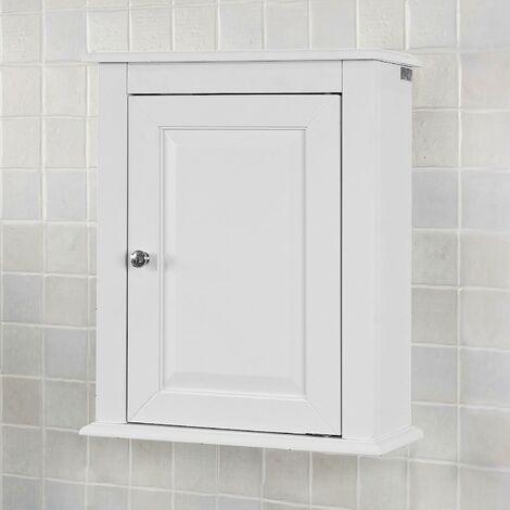 Meuble Haut de Salle de Bain - 1 porte Placard Commode Meuble de Rangement Mural Armoire Suspendue SoBuy® FRG203-W