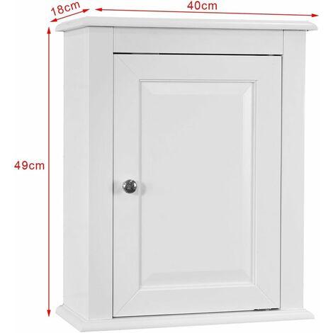 Meuble haut de salle de bain 1 porte placard commode meuble de rangement mural armoire - Porte placard salle de bain ...