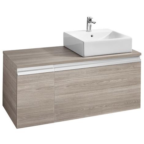 Meuble HEIMA 1100 2 tiroirs pour vasque à poser à droite - Gris mat