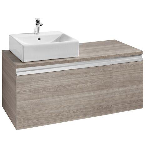 Meuble HEIMA 1100 2 tiroirs pour vasque à poser à gauche - Gris mat