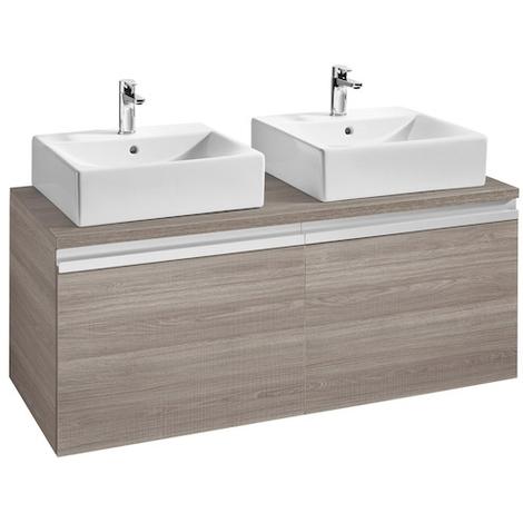 Meuble heima 1200 2 tiroirs pour 2 vasques poser fr ne - Meuble pour vasque a poser ...