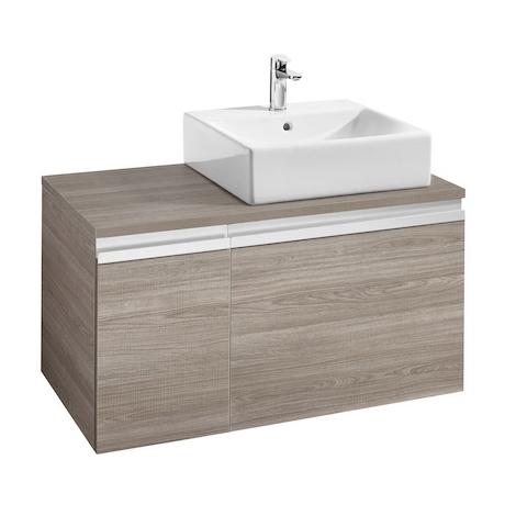 Meuble HEIMA 900 2 tiroirs pour vasque à poser à droite - Gris mat