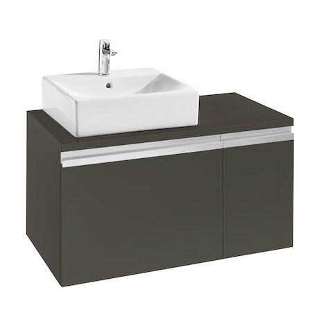 Meuble HEIMA 900 2 tiroirs pour vasque à poser à gauche - Gris mat