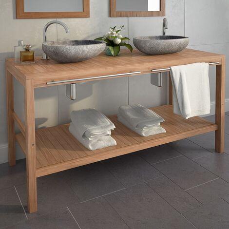 Meuble-lavabo de salle de bains Teck massif 132x45x75cm