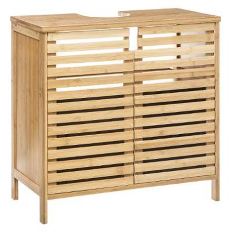 Meuble lavabo en bambou - Dim : L. 60 x P. 28 x H. 58.5 cm -PEGANE-