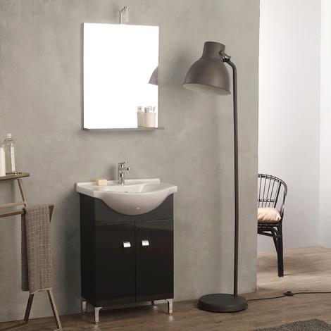 Meuble Lavabo Gris Anthracite Pour Salle De Bain 58 Cm Avec Miroir