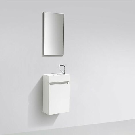 Meuble lave-main salle de bain design SIENA largeur 40 cm blanc laqué - Blanc