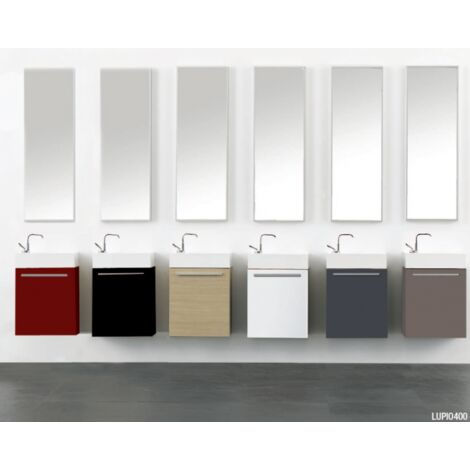 Meuble lave mains à suspendre cerisier 40cm + vasque + miroir Lupio - Rouge