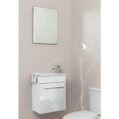 Meuble lave-mains à suspendre + miroir Ninon Blanc