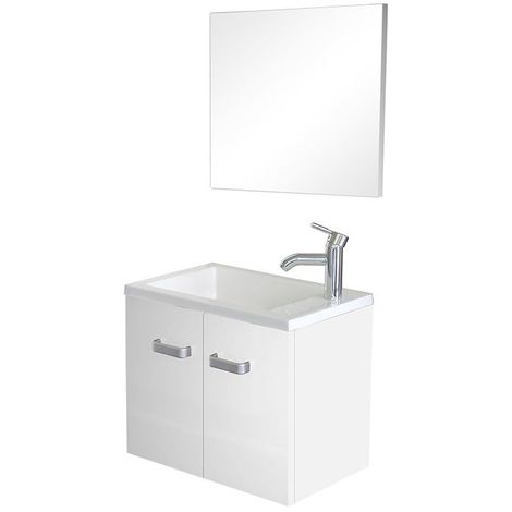 Meuble lave-mains à suspendre + miroir Spicy Blanc