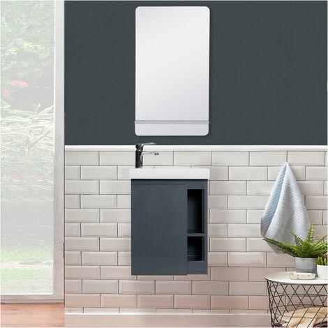 Meuble Lave-mains Blanc avec vasque Blanche HAMPTON + Miroir - Blanc