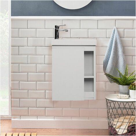 Meuble Lave-mains Blanc avec Vasque en Résine de Synthèse L41,5 x H53 HAMPTON