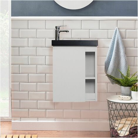 Meuble Lave-mains Blanc avec Vasque Noire HAMPTON - Blanc