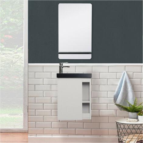 Meuble Lave-mains Blanc avec vasque Noire HAMPTON + Miroir - Blanc
