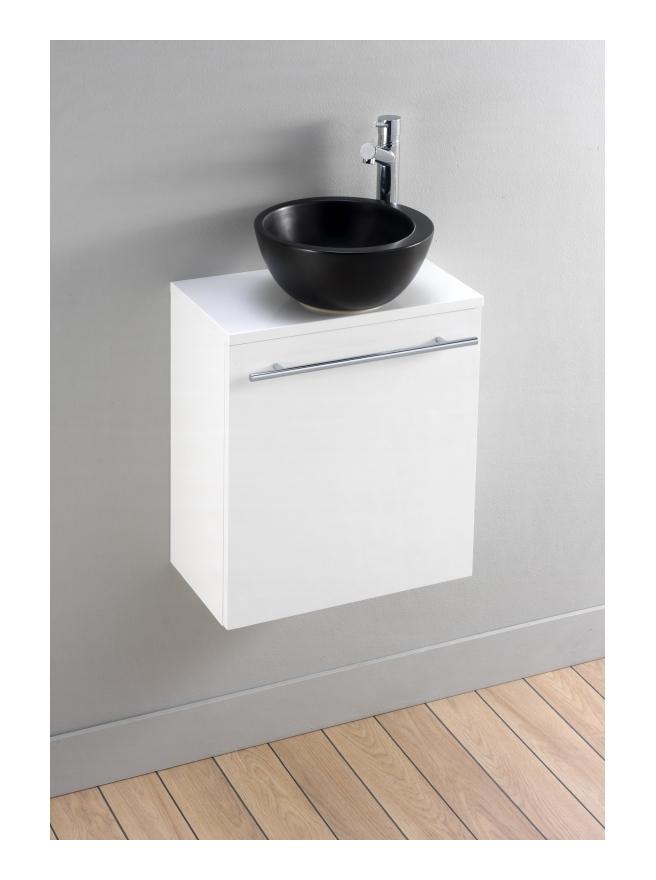 meuble lavemains blanc pour petit espace avec bol en