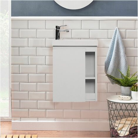 "main image of ""Meuble lave-mains blanc vasque blanche HAMPTON - Blanc"""