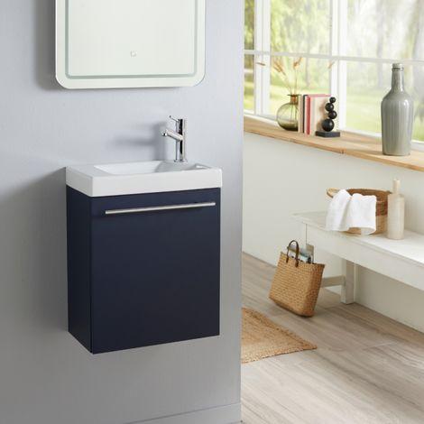 Meuble lave mains bleu nuit avec lave mains en céramique et robinet eau froide à droite