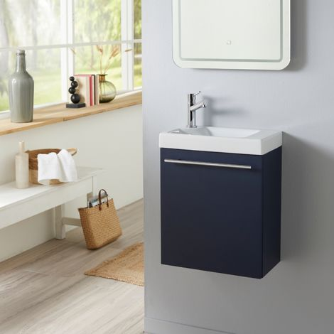 Meuble lave mains bleu nuit avec lave mains en céramique et robinet eau froide à gauche